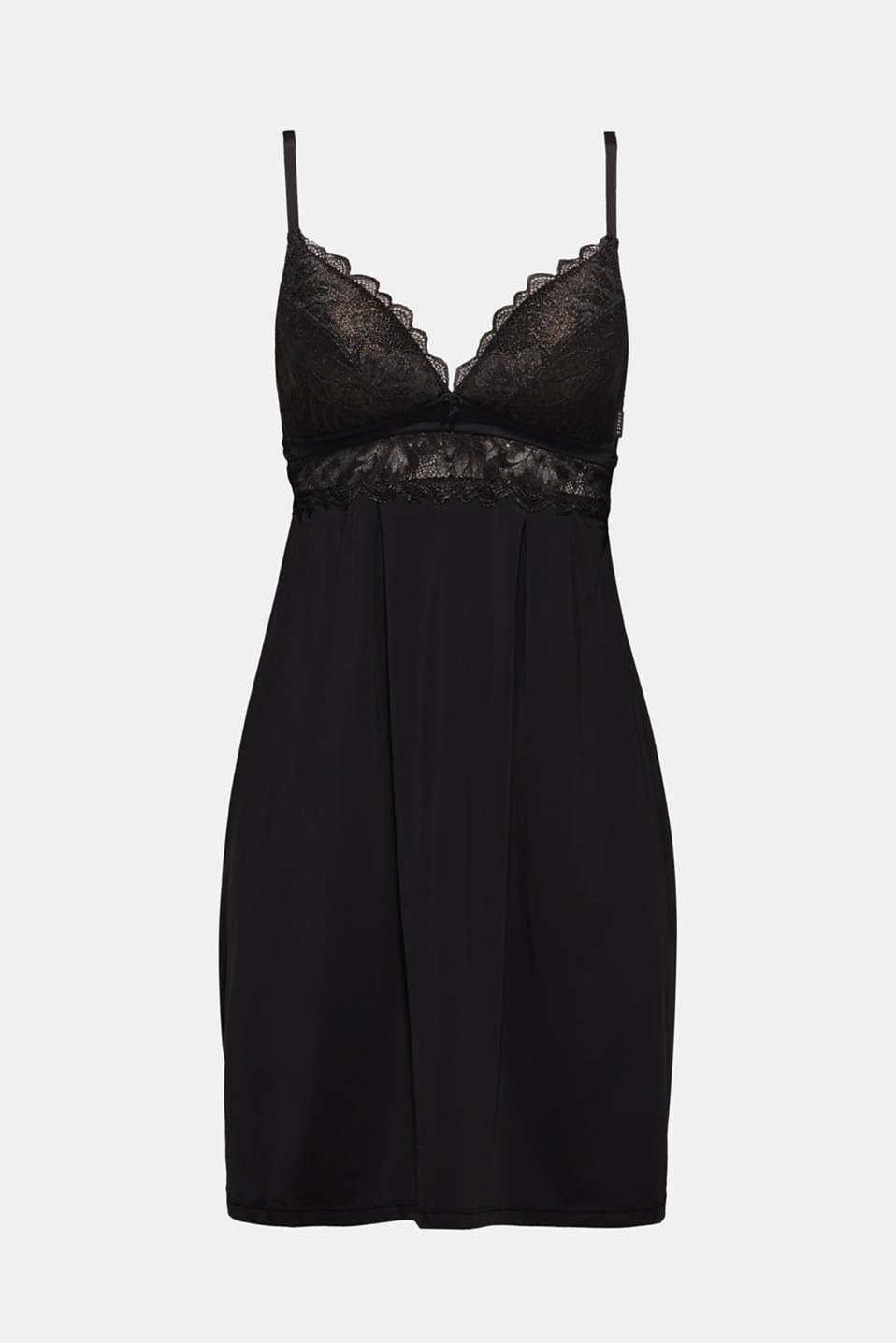 Padded chemise with formal lace, BLACK, detail image number 4