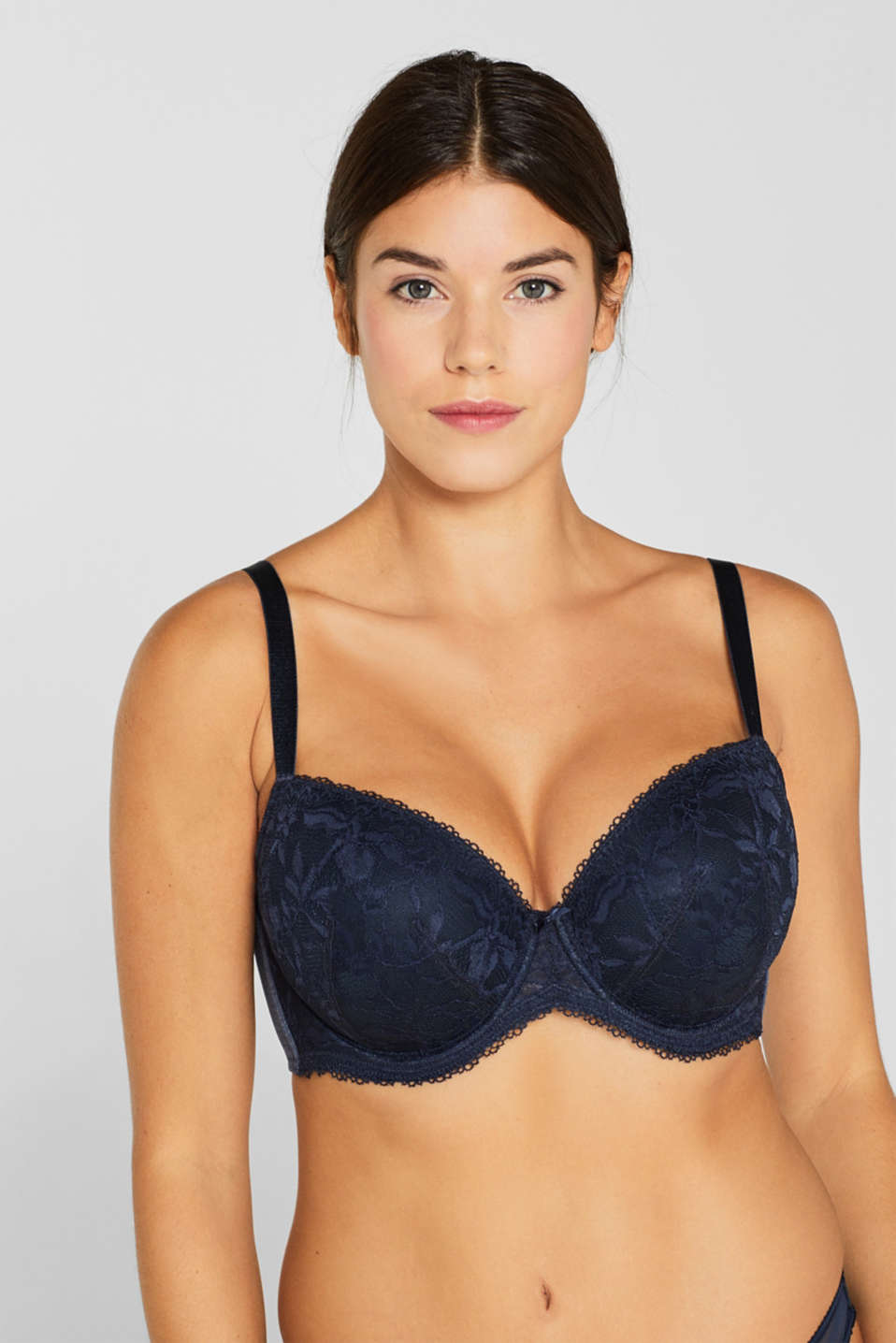 Padded, mixed material bra for larger cup sizes, NAVY, detail image number 2
