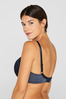 Padded, mixed material bra for larger cup sizes, NAVY, detail