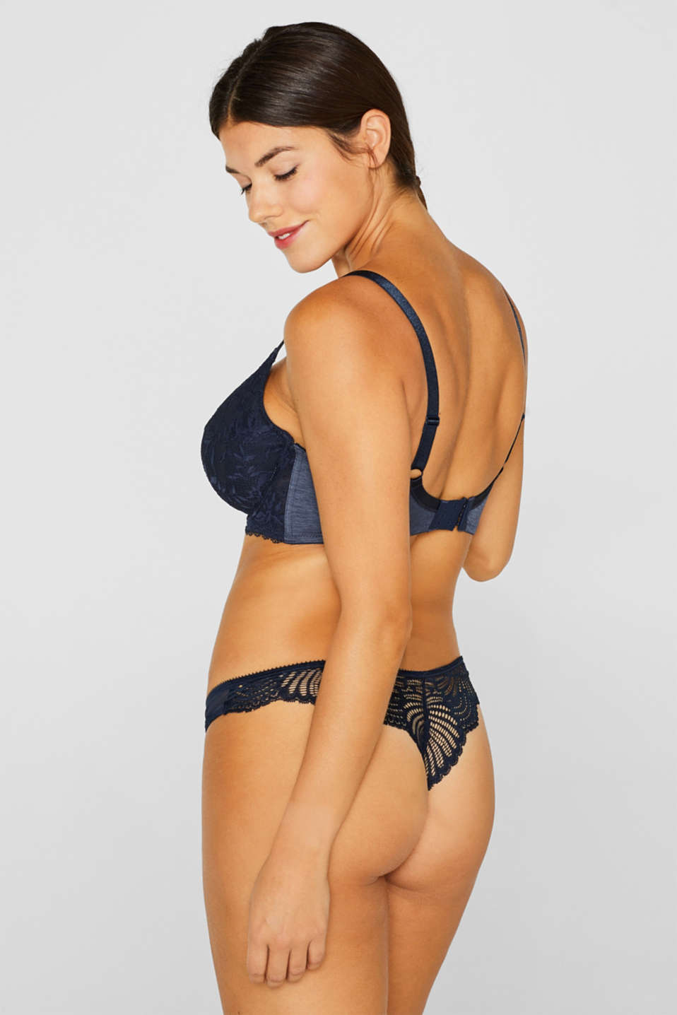 Unpadded, mixed material bra for larger cup sizes, NAVY, detail image number 1