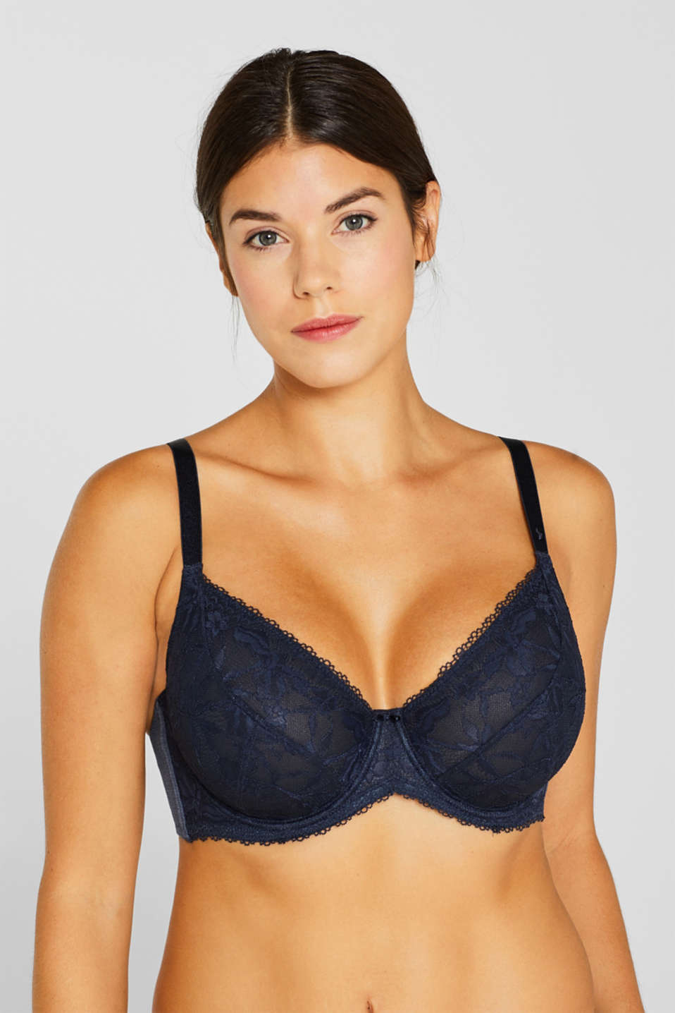 Unpadded, mixed material bra for larger cup sizes, NAVY, detail image number 2