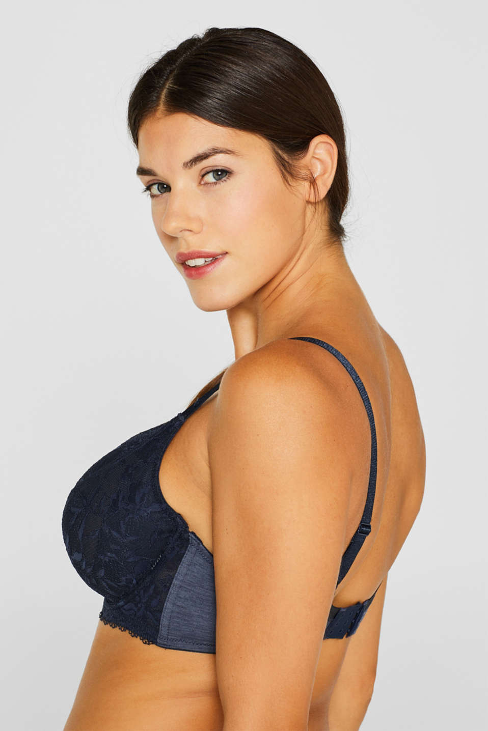 Unpadded, mixed material bra for larger cup sizes, NAVY, detail image number 3
