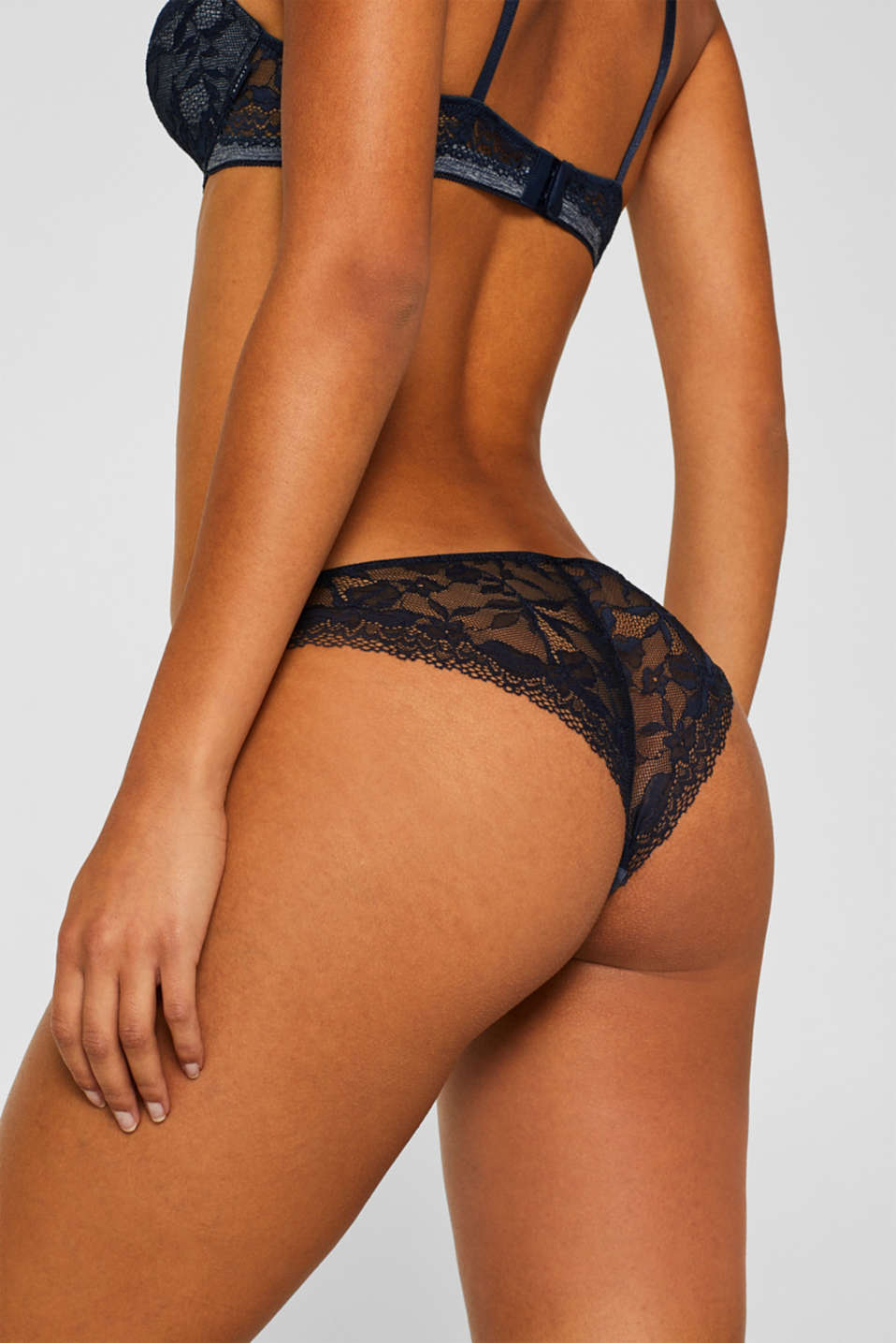 Jersey/lace hipster briefs, NAVY, detail image number 1