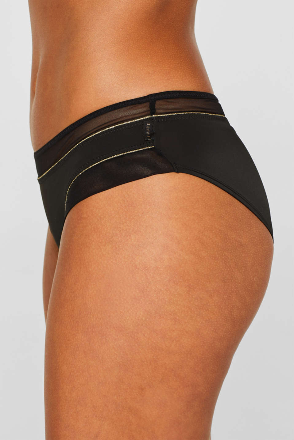 Hipster shorts with mesh and glitter, BLACK, detail image number 1