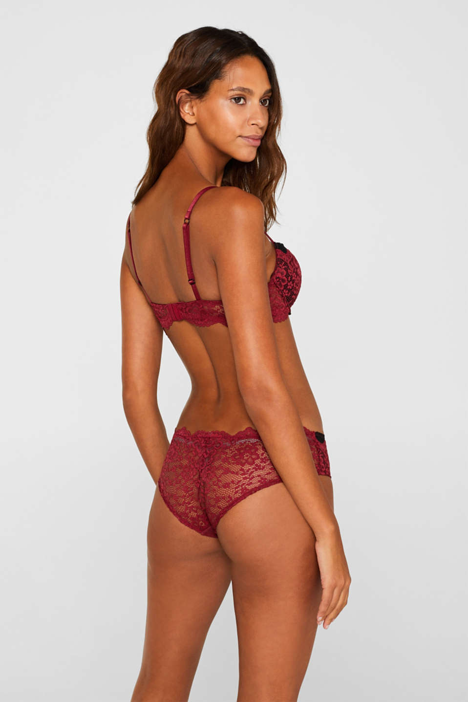 Push-up bra in two-tone lace, DARK RED, detail image number 1