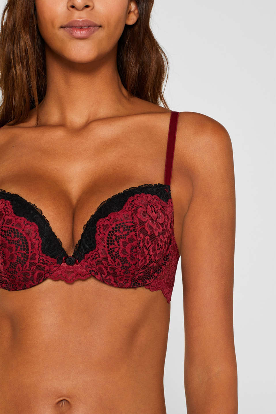Push-up bra in two-tone lace, DARK RED, detail image number 2