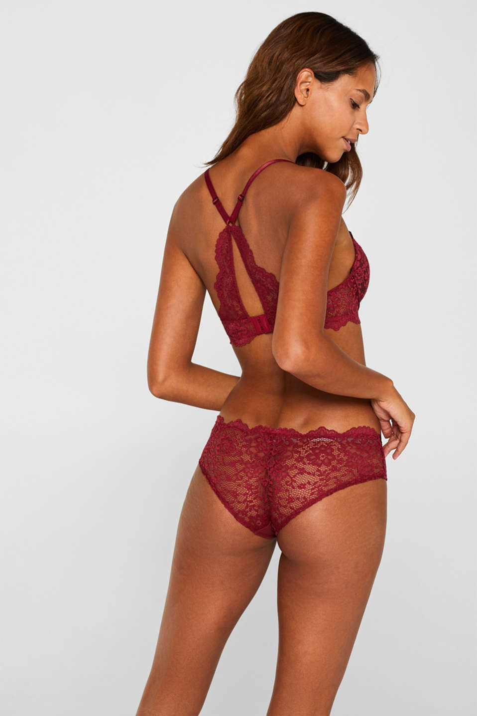 Padded underwire bra made of two-tone lace, DARK RED, detail image number 1