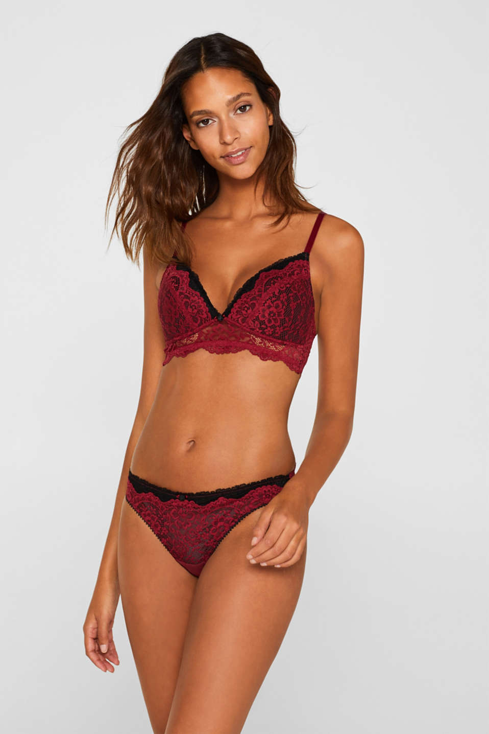 Padded, non-wired bra made of two-tone lace, DARK RED, detail image number 0