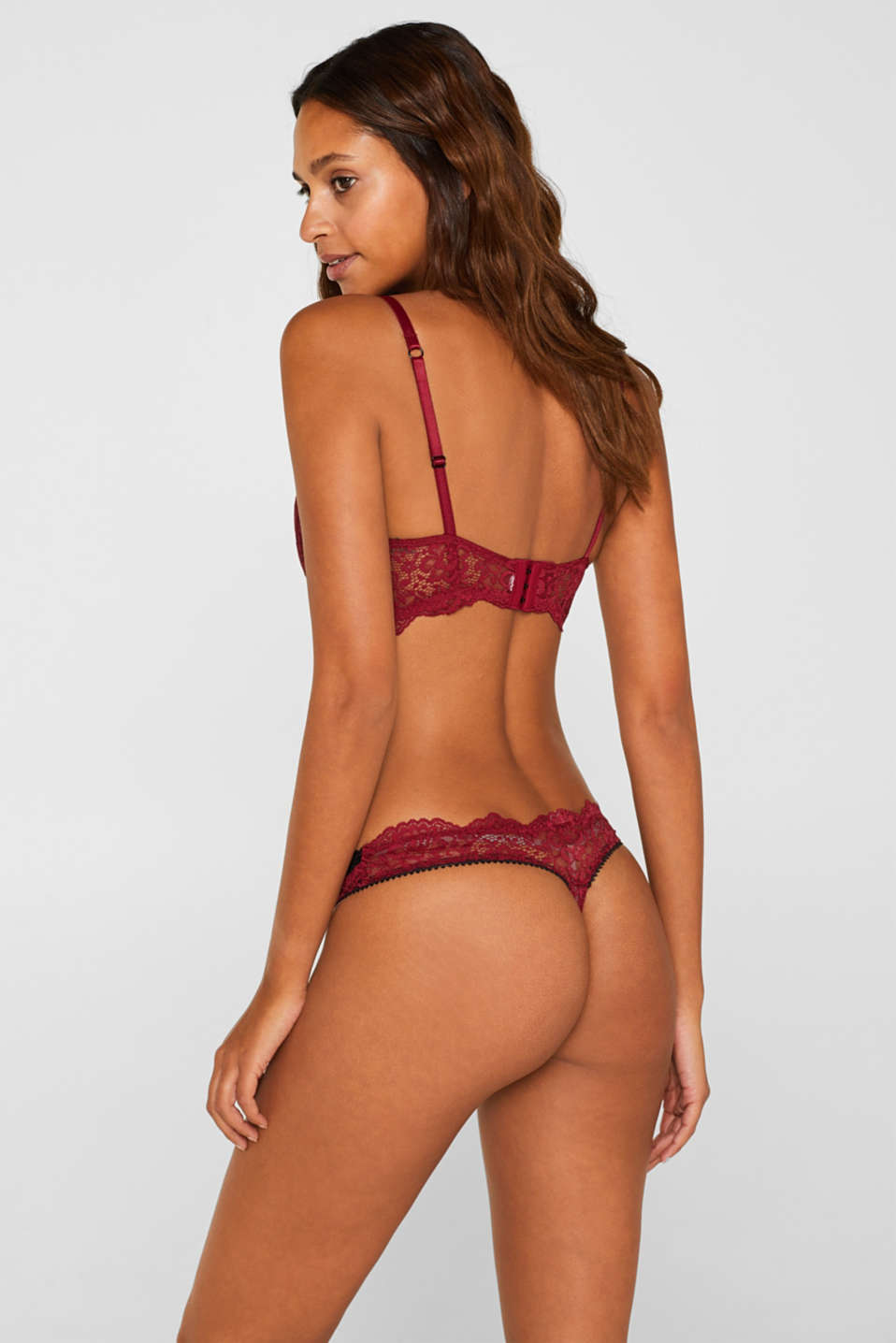 Hipster thong in two-tone lace, DARK RED, detail image number 2