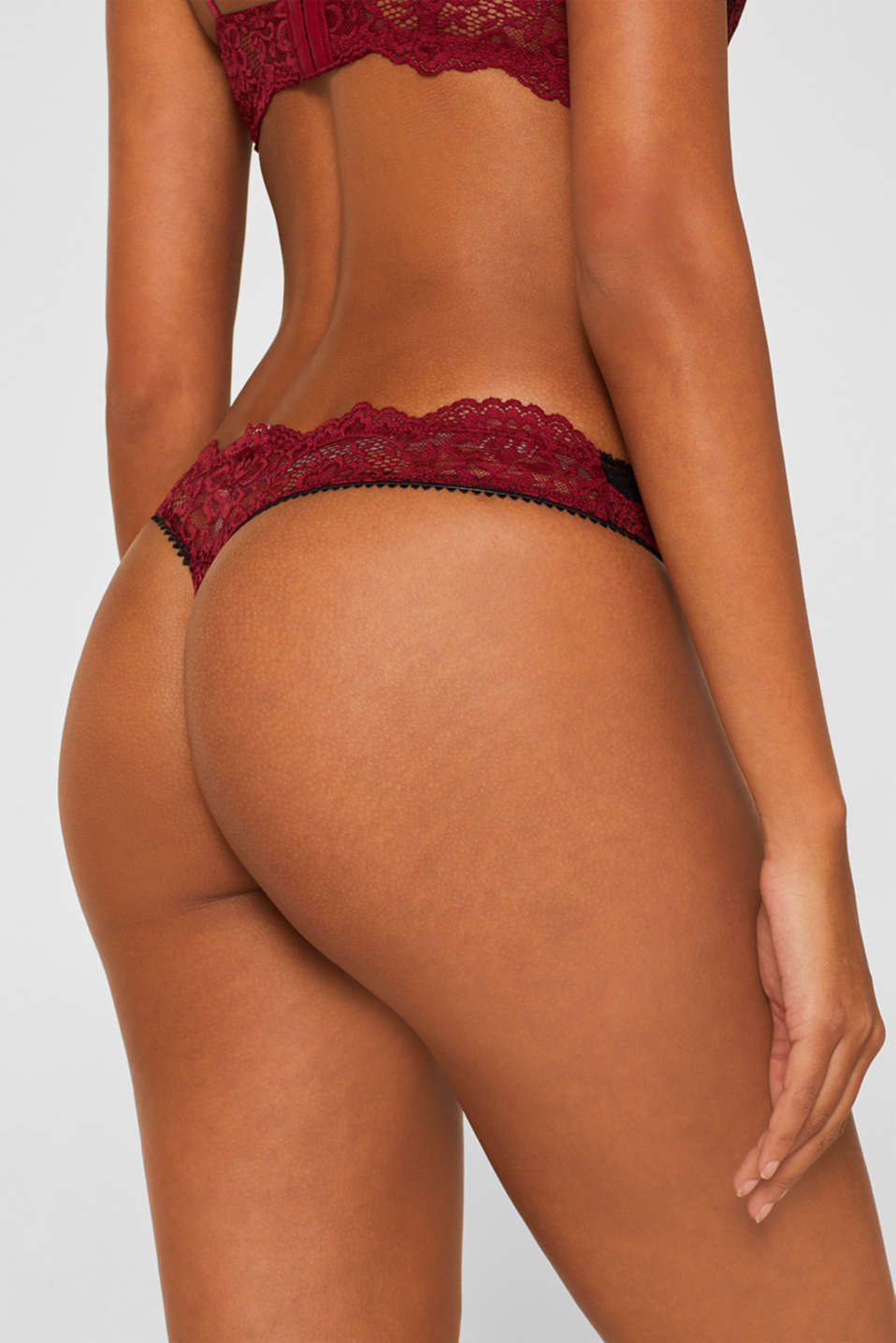 Hipster thong in two-tone lace, DARK RED, detail image number 3