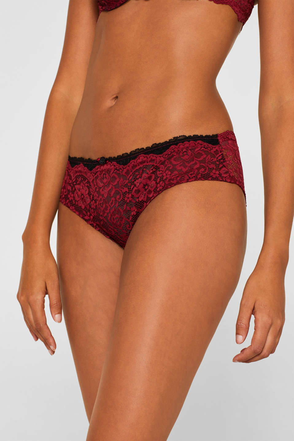Hipster shorts in two-tone lace, DARK RED, detail image number 1