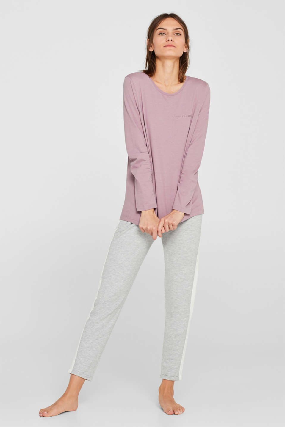 Esprit - Printed long sleeve top, 100% cotton