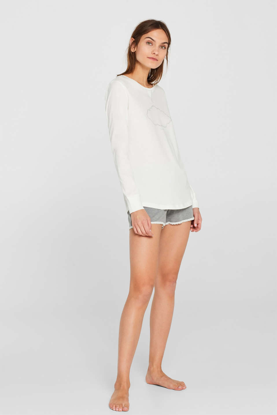 Printed long sleeve top, 100% cotton, OFF WHITE, detail image number 0