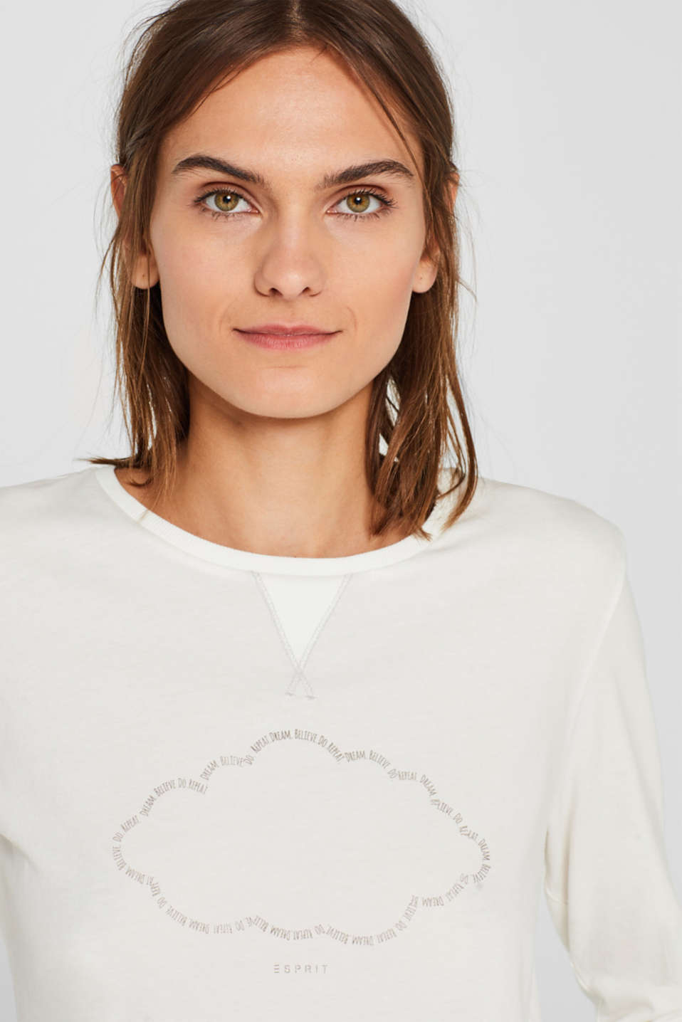 Printed long sleeve top, 100% cotton, OFF WHITE, detail image number 3