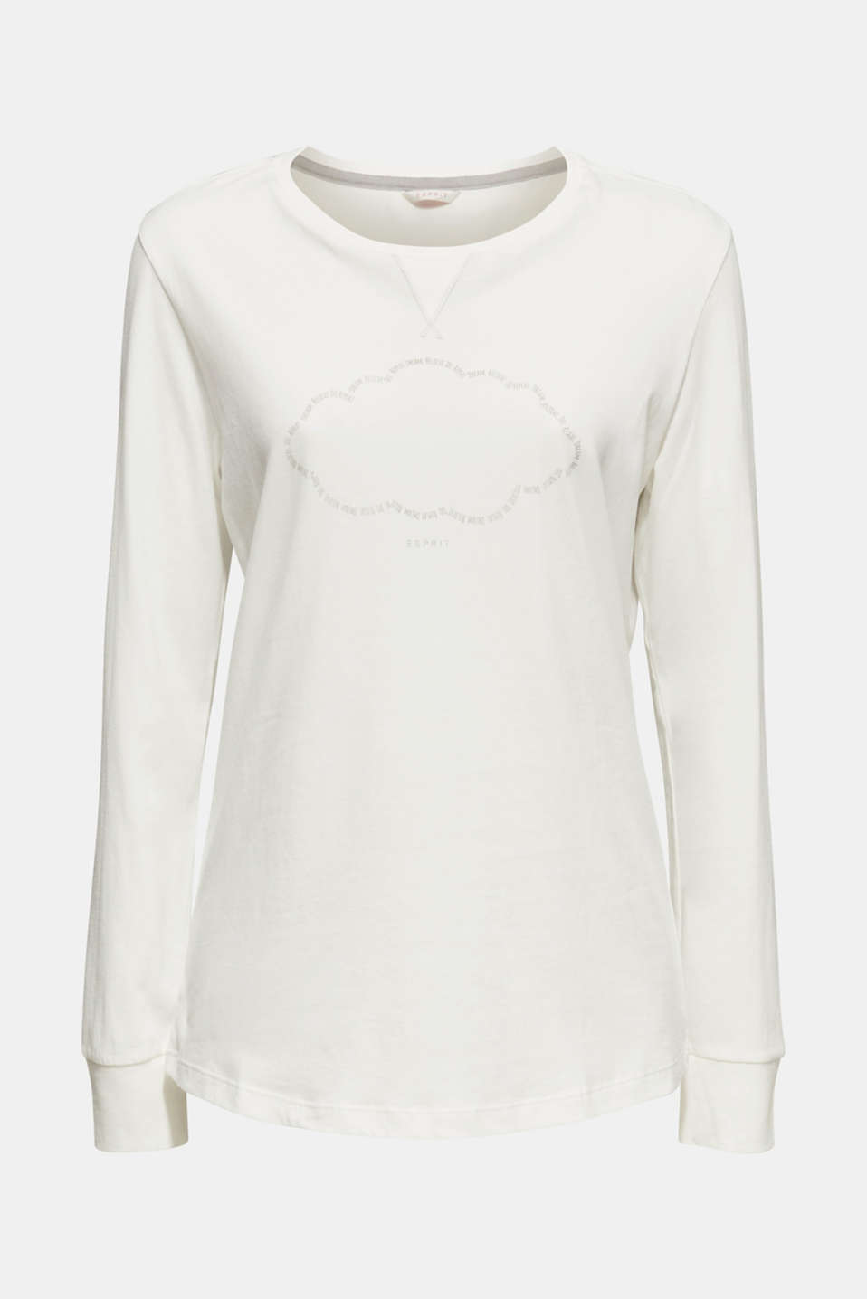 Printed long sleeve top, 100% cotton, OFF WHITE, detail image number 5
