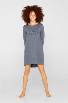 Jersey nightshirt with a print, NAVY, detail