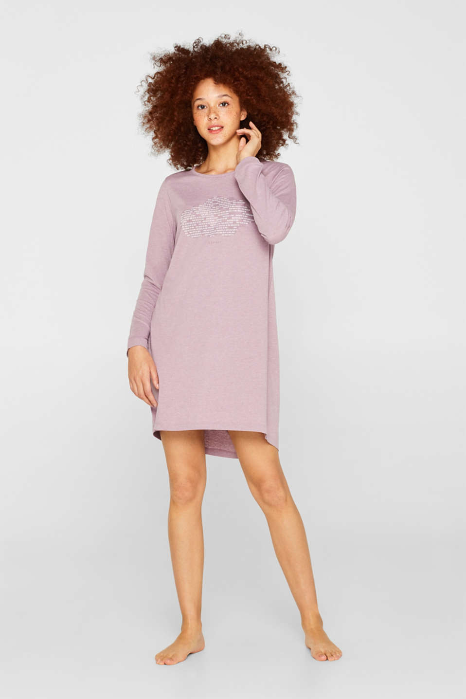 Jersey nightshirt with a print, MAUVE, detail image number 0