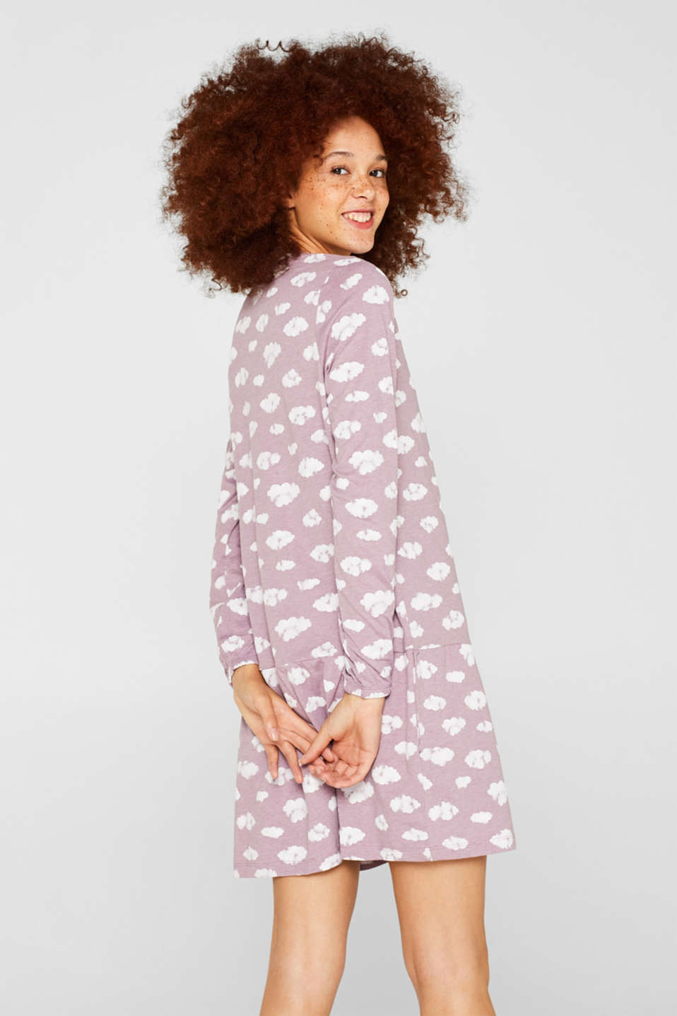 Jersey nightshirt with a print, MAUVE, detail image number 2