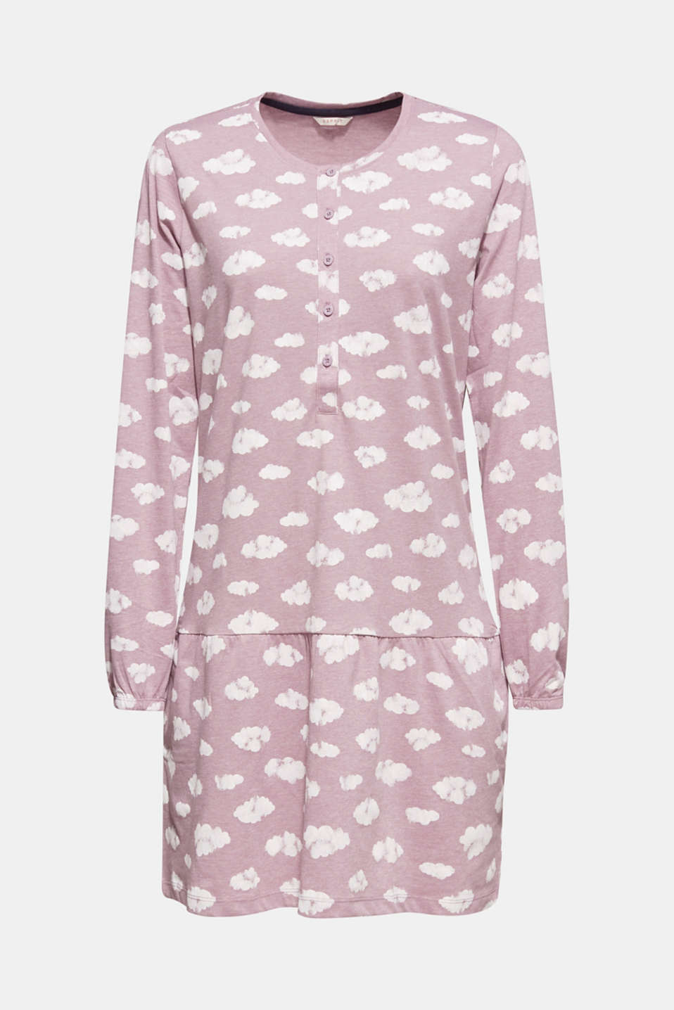 Jersey nightshirt with a print, MAUVE, detail image number 6