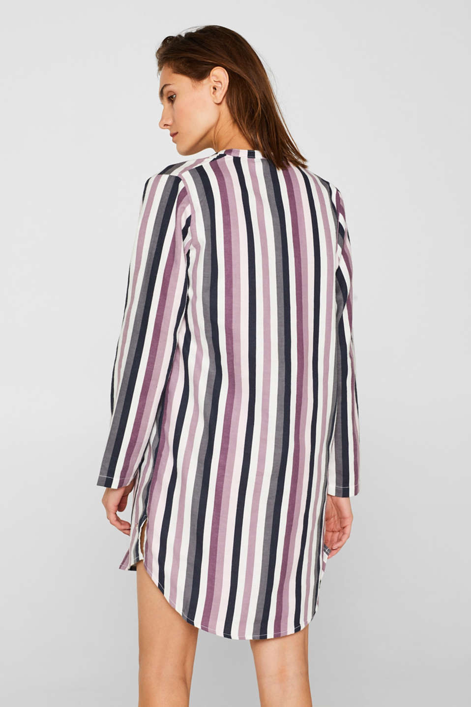 Flannel nightshirt made of 100% cotton, MAUVE, detail image number 1