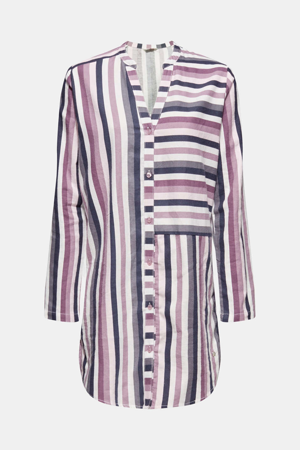 Flannel nightshirt made of 100% cotton, MAUVE, detail image number 4