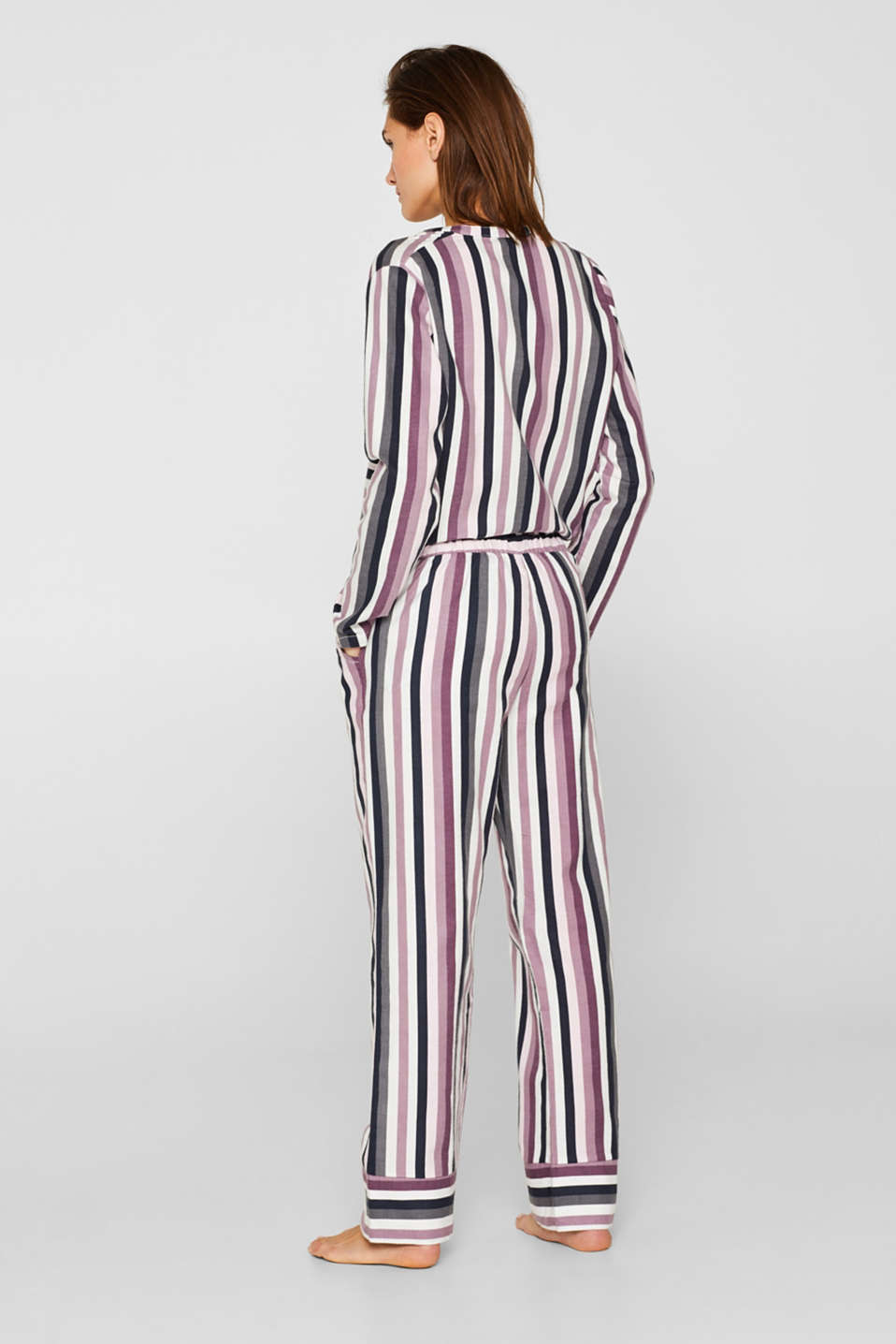 Flannel trousers with satin ribbon ties, 100% cotton, MAUVE, detail image number 2
