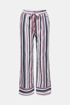 Flannel trousers with satin ribbon ties, 100% cotton, MAUVE, detail