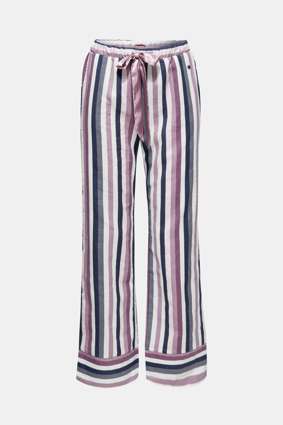 Flannel trousers with satin ribbon ties, 100% cotton, MAUVE, detail image number 3