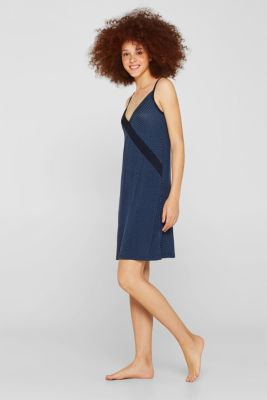 Stretch jersey chemise with checks, NAVY, detail