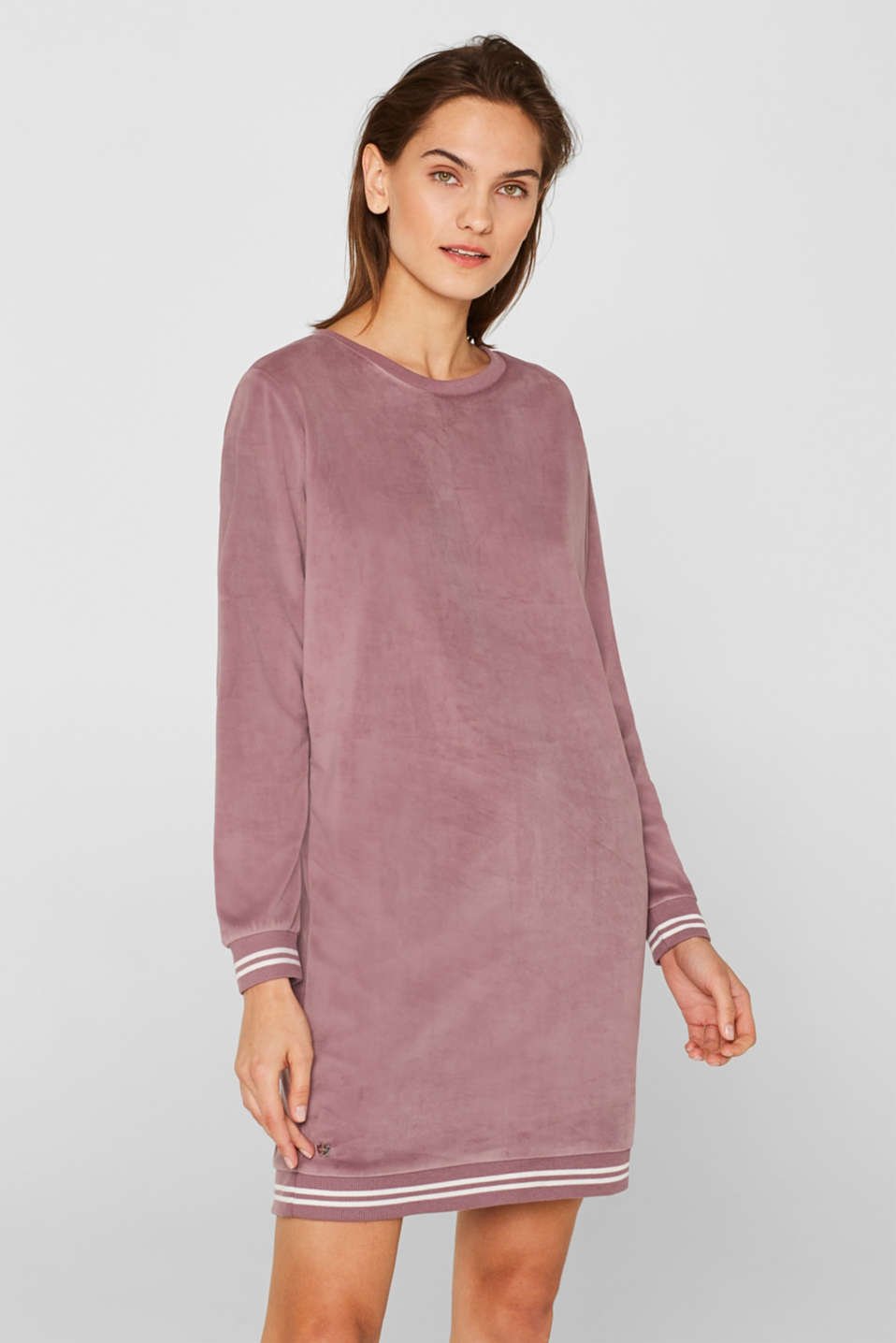 Velour leisurewear dress with ribbed cuffs, MAUVE, detail image number 1