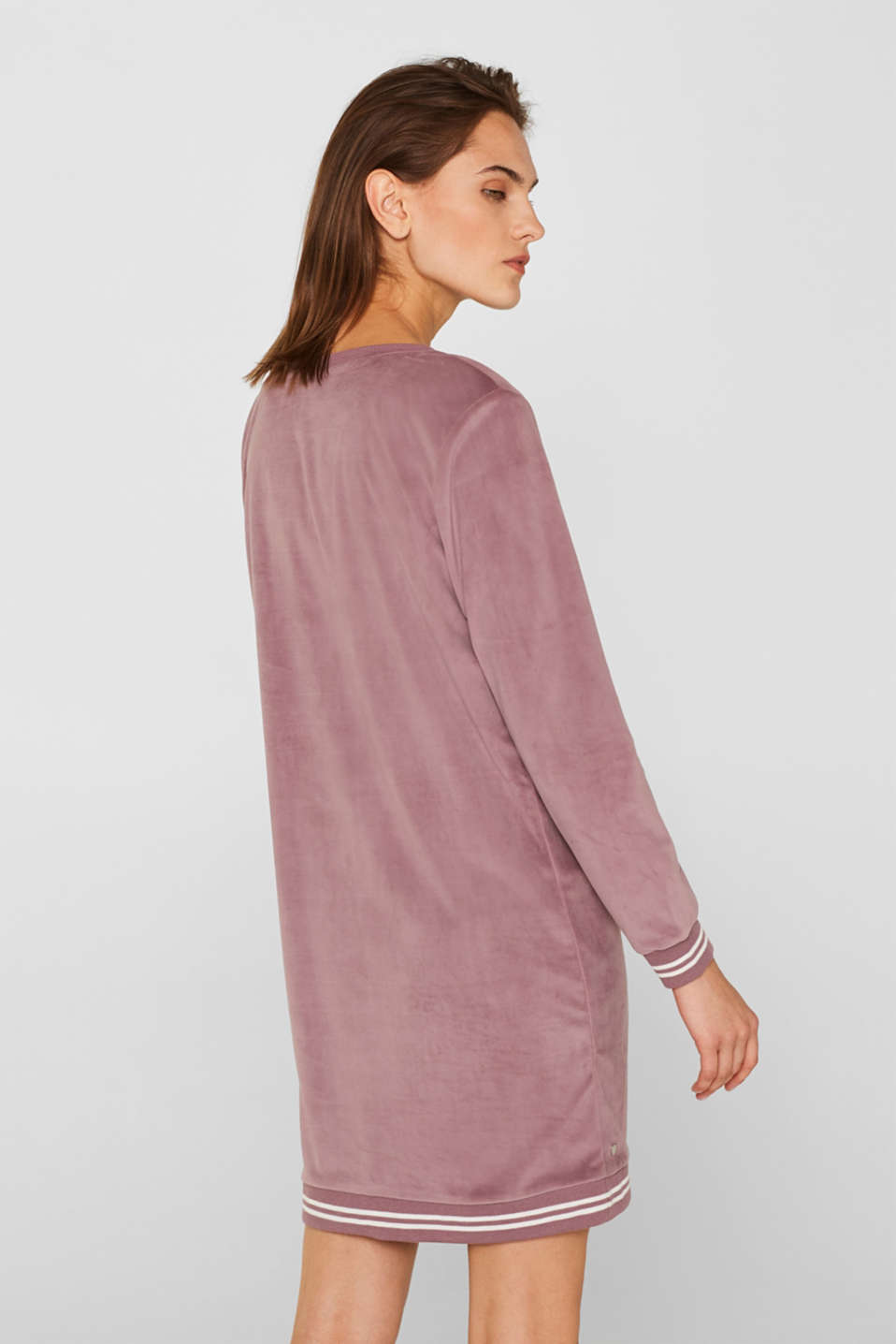 Velour leisurewear dress with ribbed cuffs, MAUVE, detail image number 2