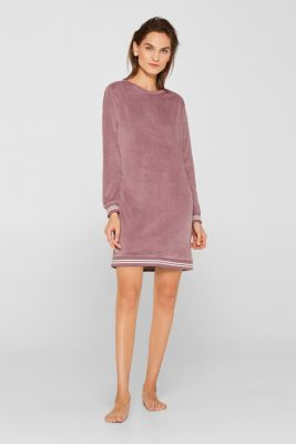 Velour leisurewear dress with ribbed cuffs, MAUVE, detail