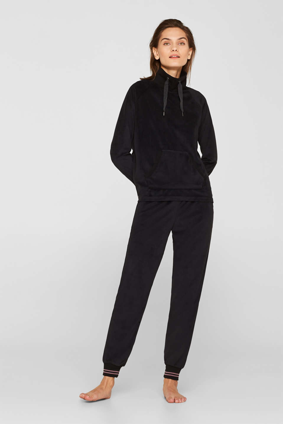 Velour trousers with ribbed borders, BLACK, detail