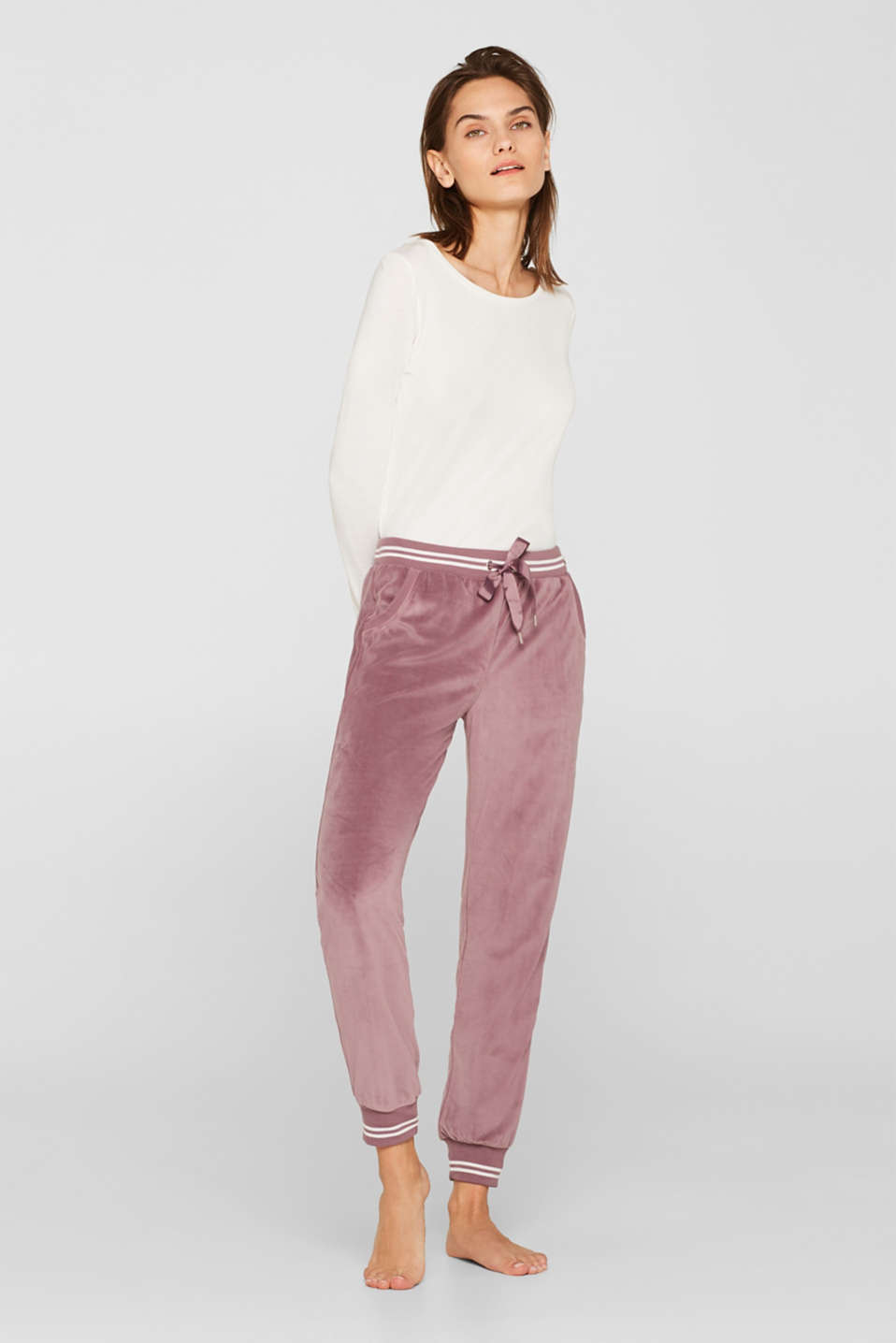 Esprit - Velour trousers with ribbed borders