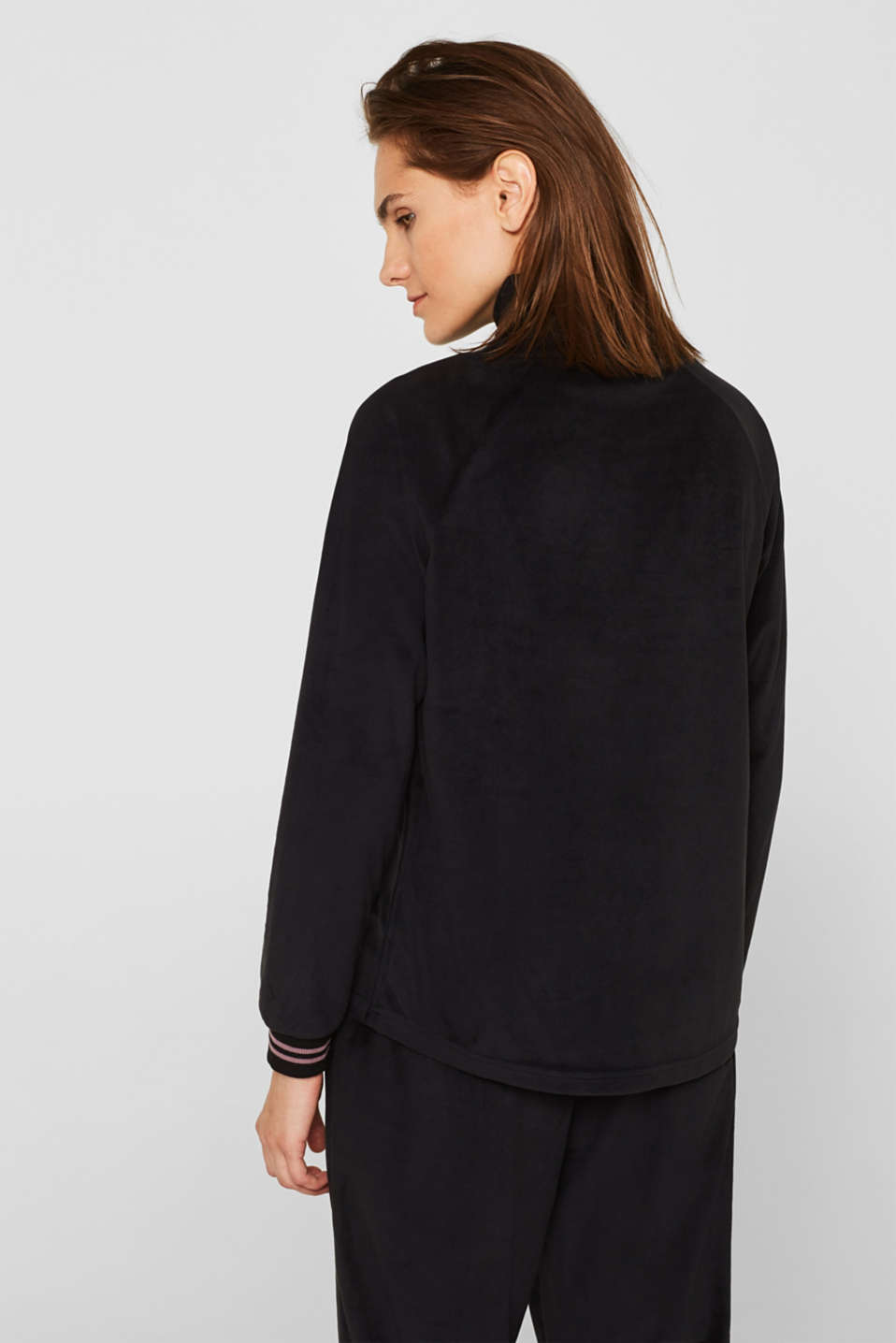 Velour sweatshirt with ribbed cuffs and waistband, BLACK, detail image number 2