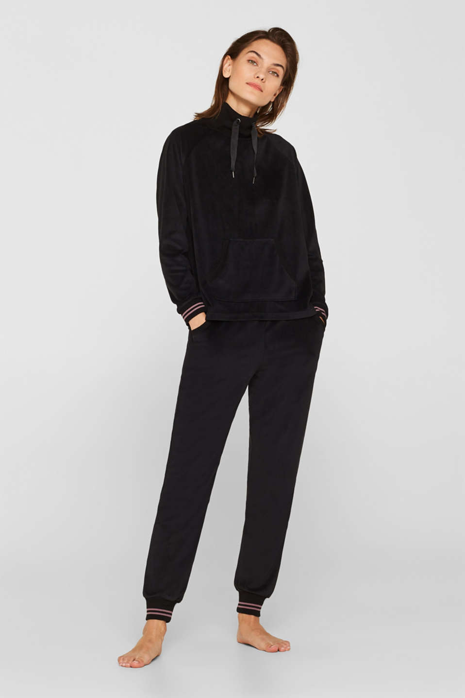 Velour sweatshirt with ribbed cuffs and waistband, BLACK, detail image number 0