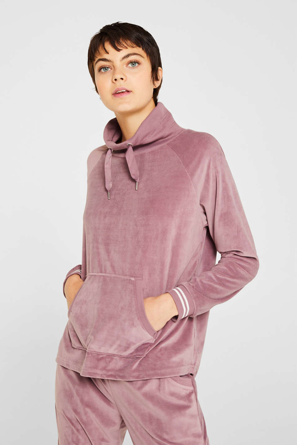 Velour sweatshirt with ribbed cuffs and waistband, MAUVE, detail image number 1