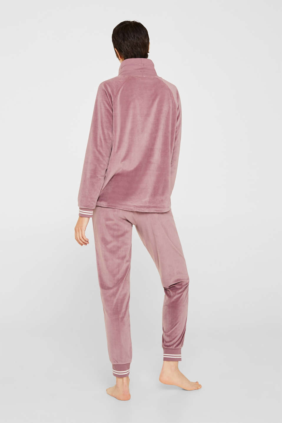 Velour sweatshirt with ribbed cuffs and waistband, MAUVE, detail image number 2