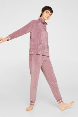 Velour sweatshirt with ribbed cuffs and waistband, MAUVE, detail