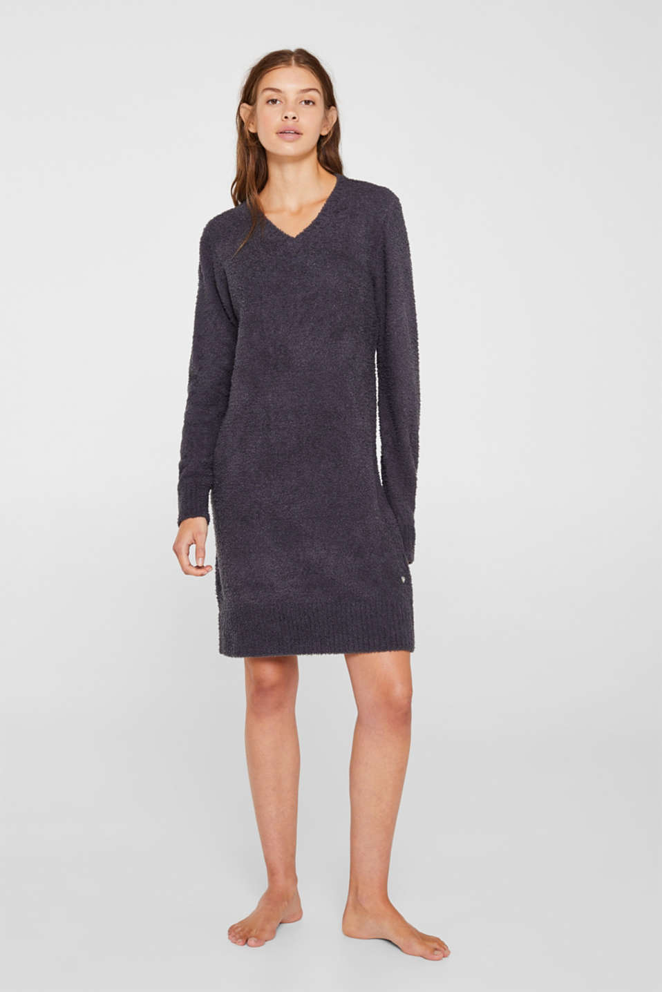 Soft home dress in a plush look, DARK GREY, detail image number 0