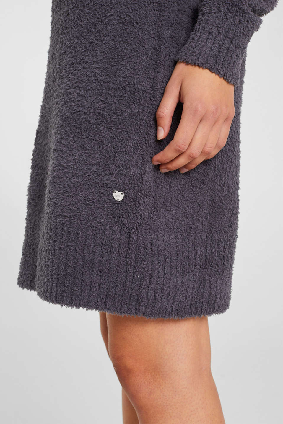 Soft home dress in a plush look, DARK GREY, detail image number 2