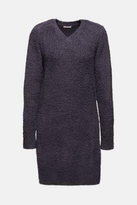 Soft home dress in a plush look, DARK GREY, detail