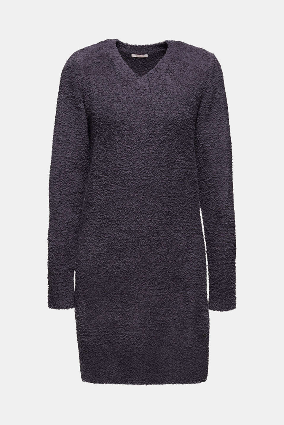 Soft home dress in a plush look, DARK GREY, detail image number 3