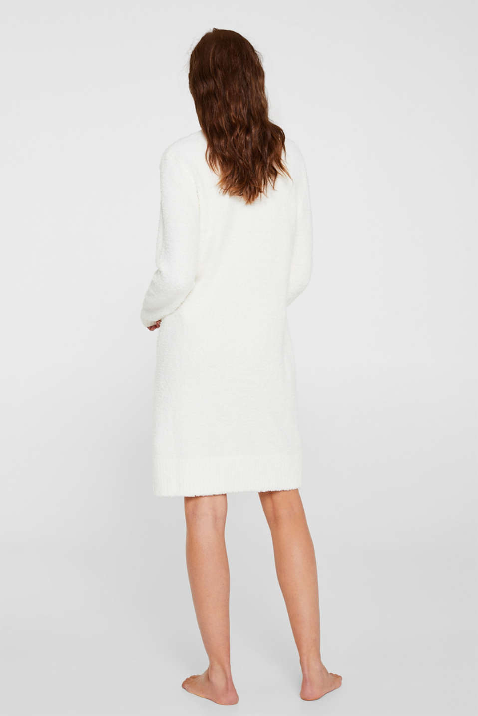 Soft home dress in a plush look, OFF WHITE, detail image number 1