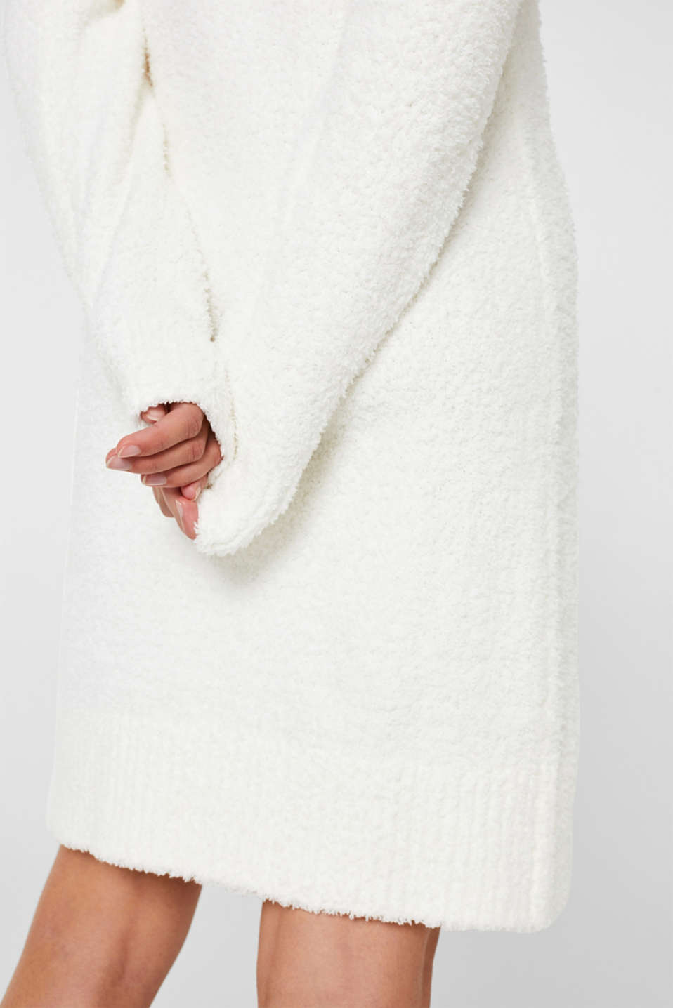 Soft home dress in a plush look, OFF WHITE, detail image number 2