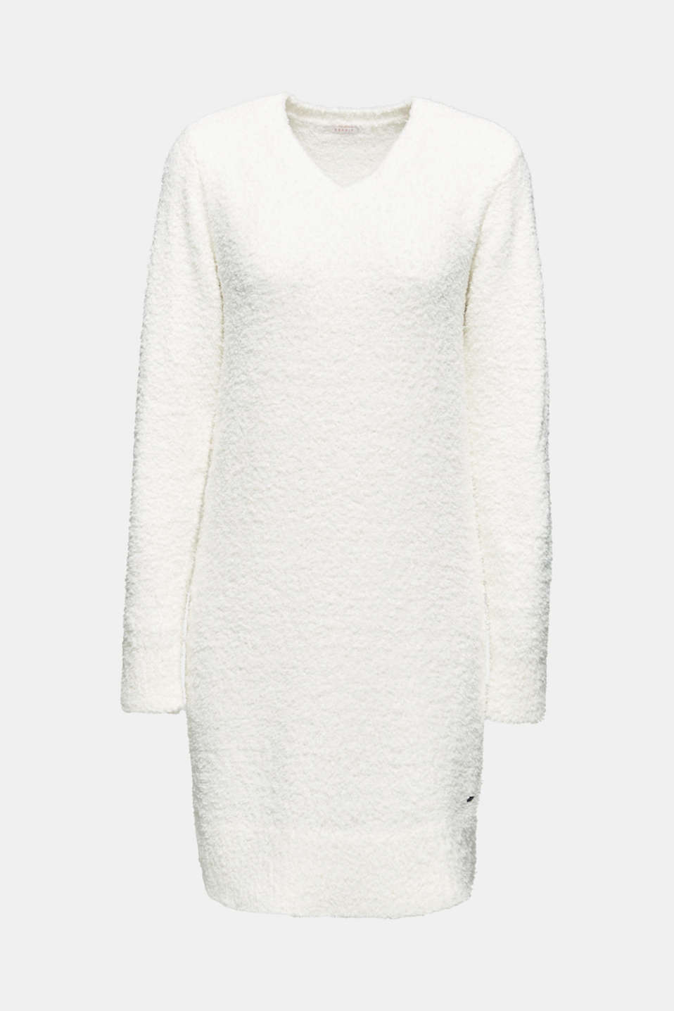 Soft home dress in a plush look, OFF WHITE, detail image number 3