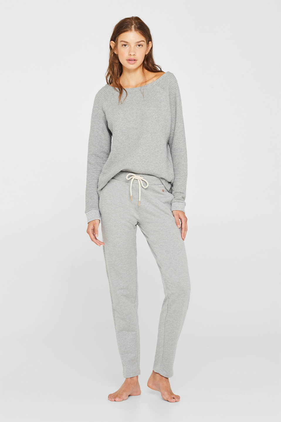 Esprit - Sweatbyxa med ribbad look