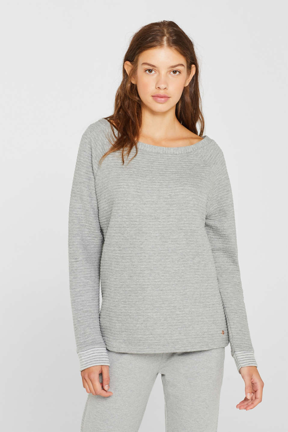Sweatshirt with a distinctive ribbed texture, MEDIUM GREY, detail image number 1