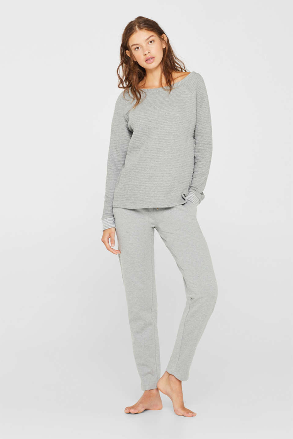 Sweatshirt with a distinctive ribbed texture, MEDIUM GREY, detail image number 0