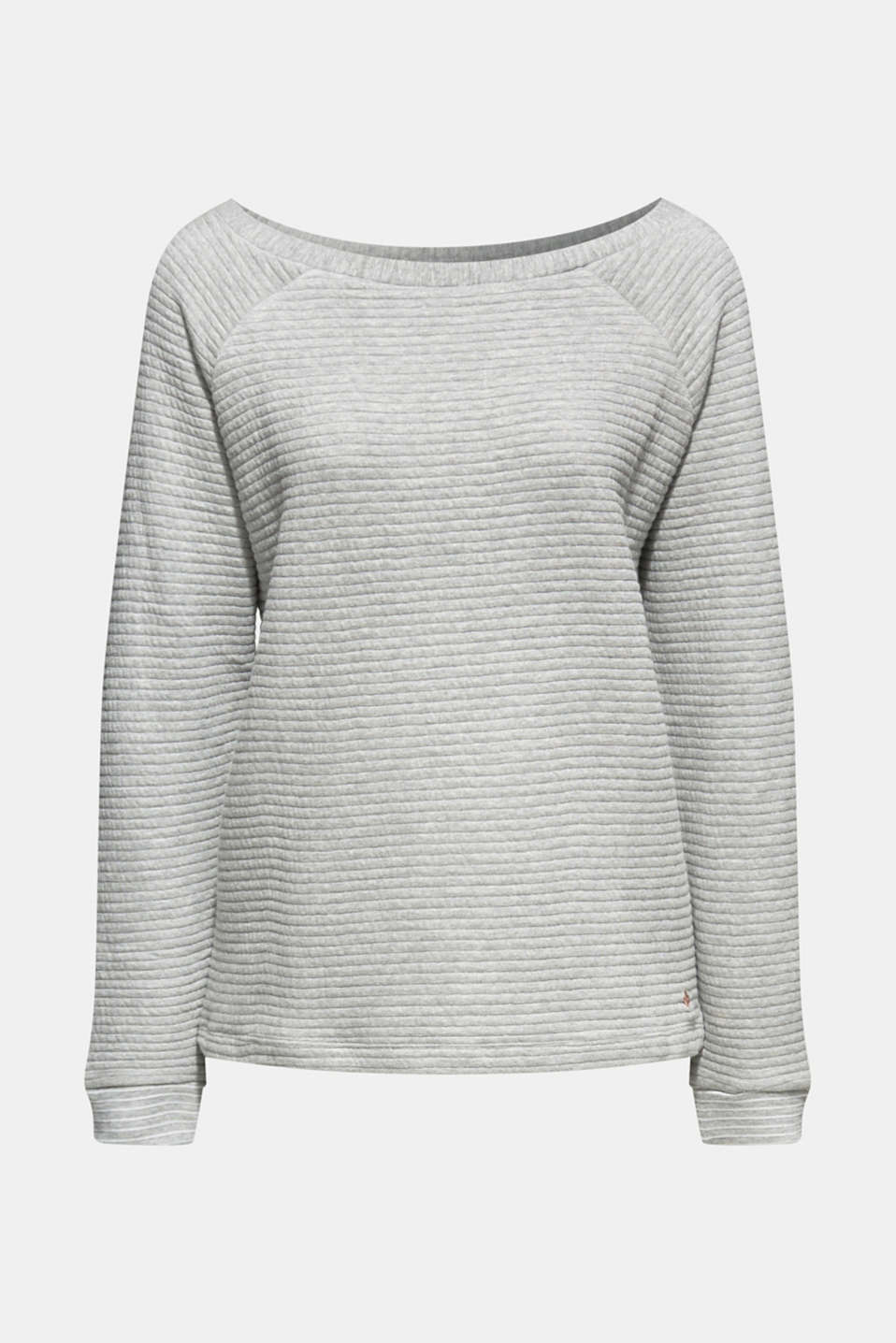 Sweatshirt with a distinctive ribbed texture, MEDIUM GREY, detail image number 6